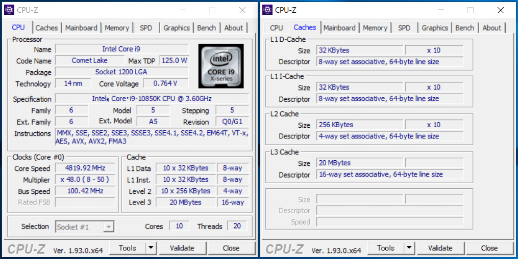 Intel Core i9 10850K_CPU-Z