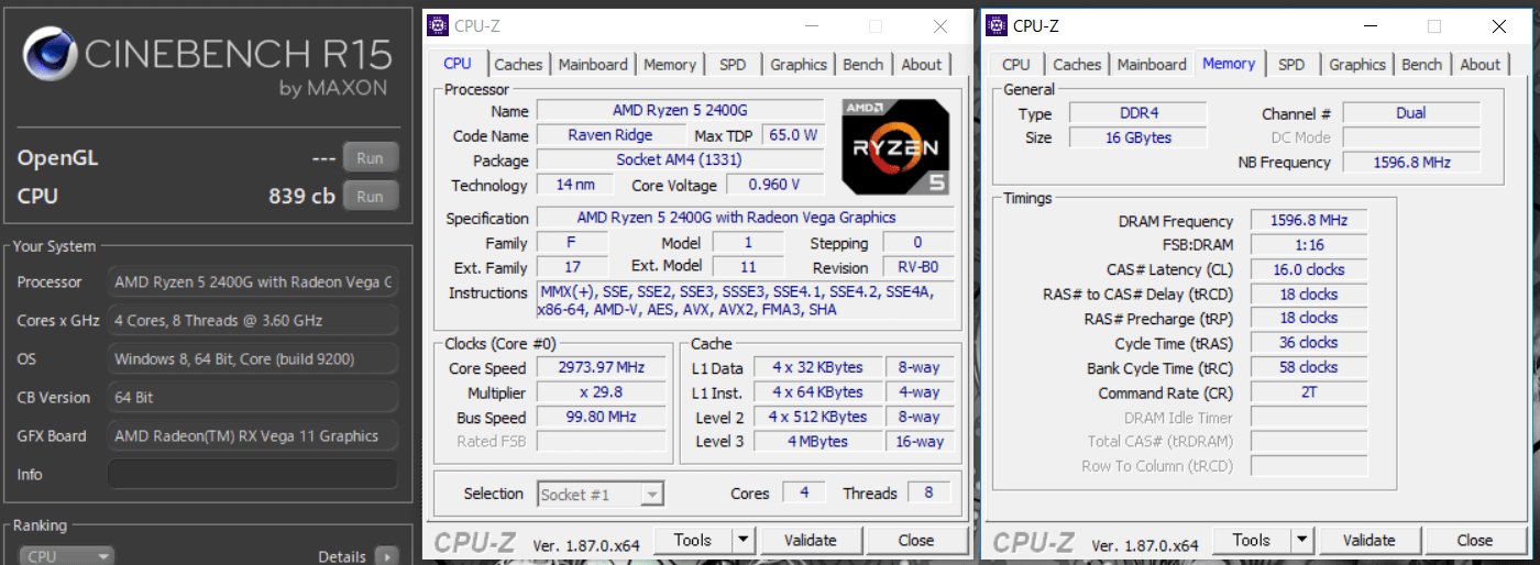 ASRock DeskMini A300_Ryzen 5 2400G_cinebench