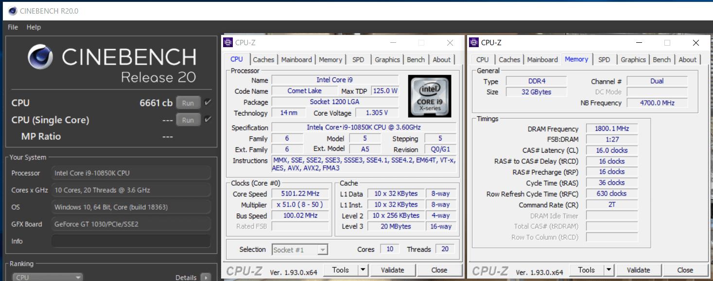 Intel Core i9 10850K-OC_Cinebench R20