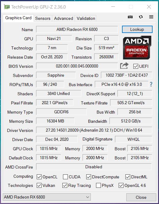 SAPPHIRE PULSE Radeon RX 6800 OC 16G GDDR6_Silent_GPU-Z (1)