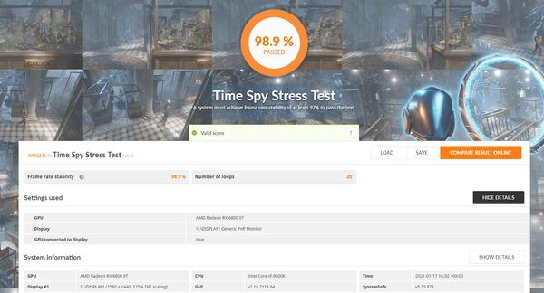 ASRock Radeon RX 6800 XT Phantom Gaming_TimeSpy Stress Test
