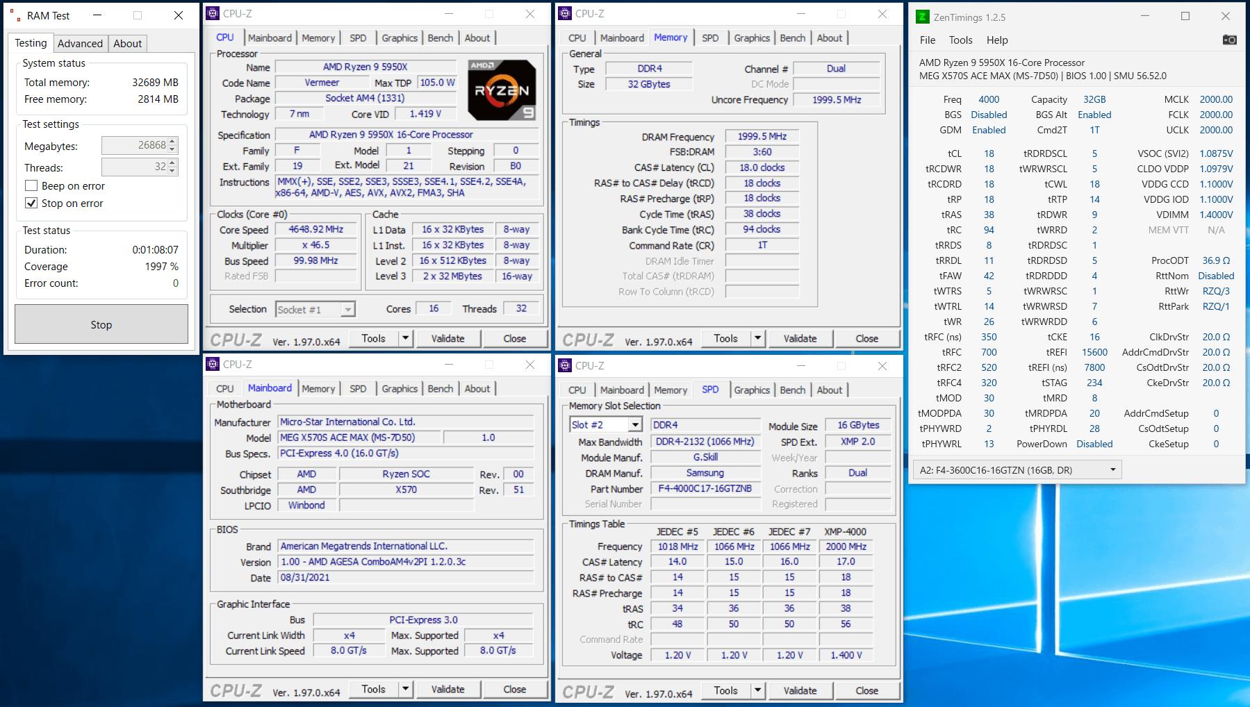 MSI MEG X570S ACE MAX_5950X_4000MHz_C18_ramtest