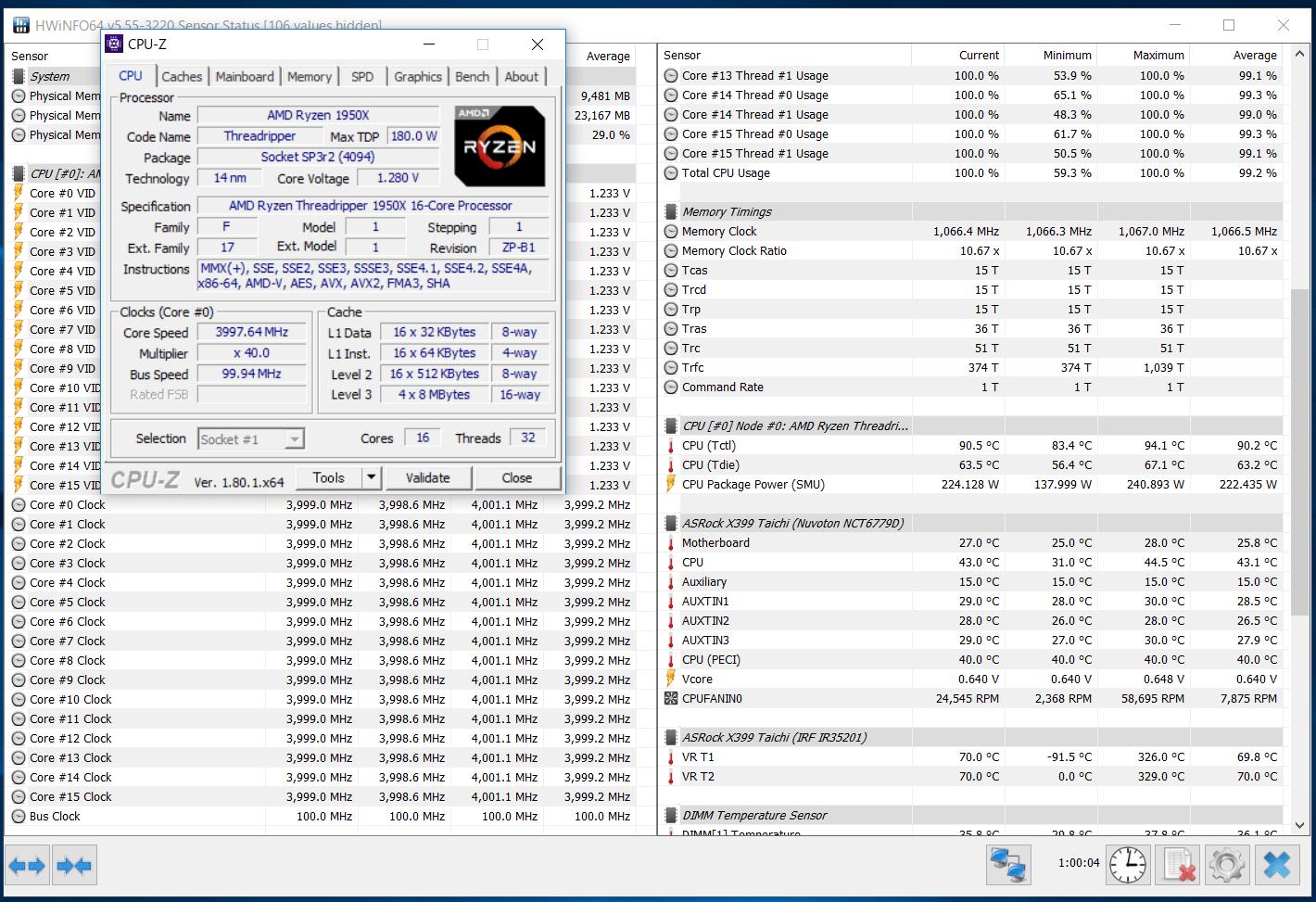 AMD Ryzen Threadripper 1950X 4GHz 1275mV