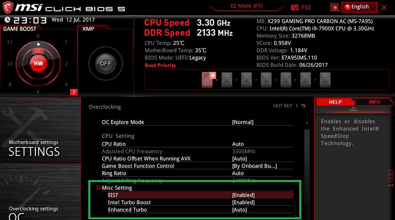 MSI X299 GAMING PRO CARBON AC_BIOS_OC_9