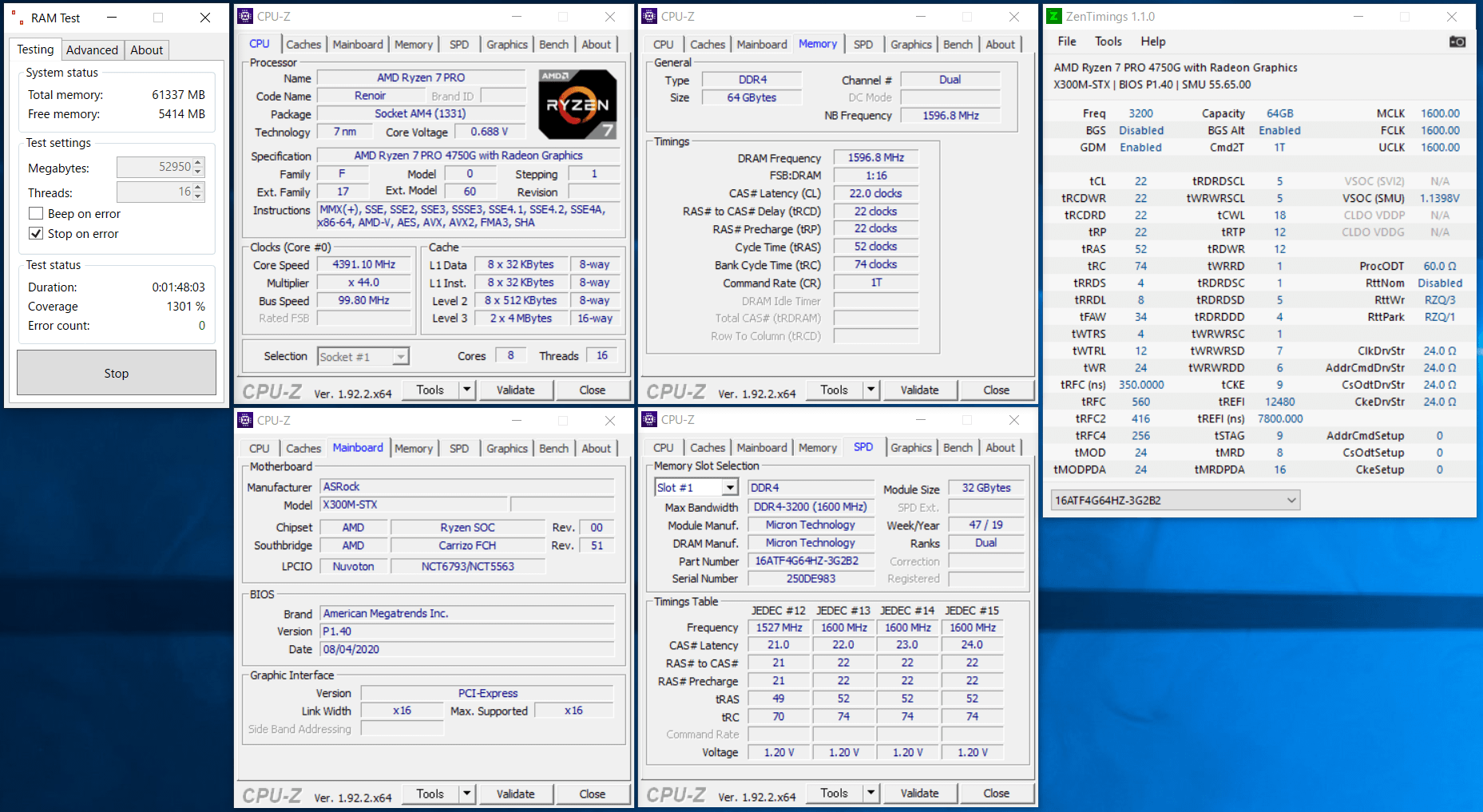ASRock DeskMini X300_Ramtest_Crucial CT2K32G4SFD832A