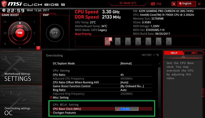 MSI X299 GAMING PRO CARBON AC_BIOS_OC_7