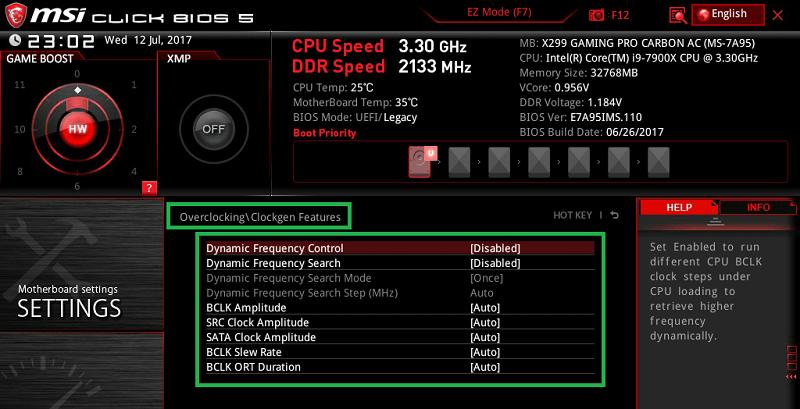 MSI X299 GAMING PRO CARBON AC_BIOS_OC_8
