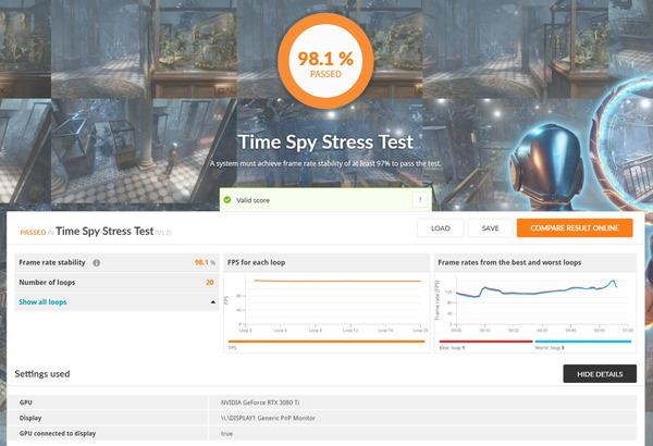 Palit GeForce RTX 3080 Ti GamingPro_TimeSpy Stress Test