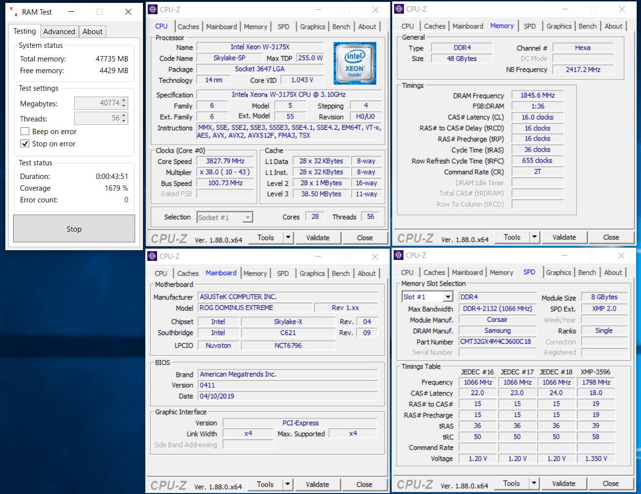 Intel Xeon W-3175X_CMT32GX4M4C3600C18_OC