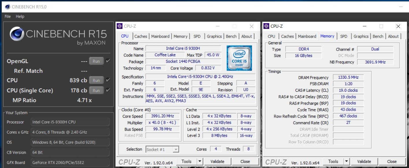 ZOTAC ZBOX Eシリーズ EN52060V_Core i5 9300H_cinebench-R15