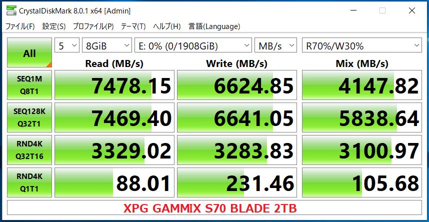 XPG GAMMIX S70 BLADE 2TB_CDM8