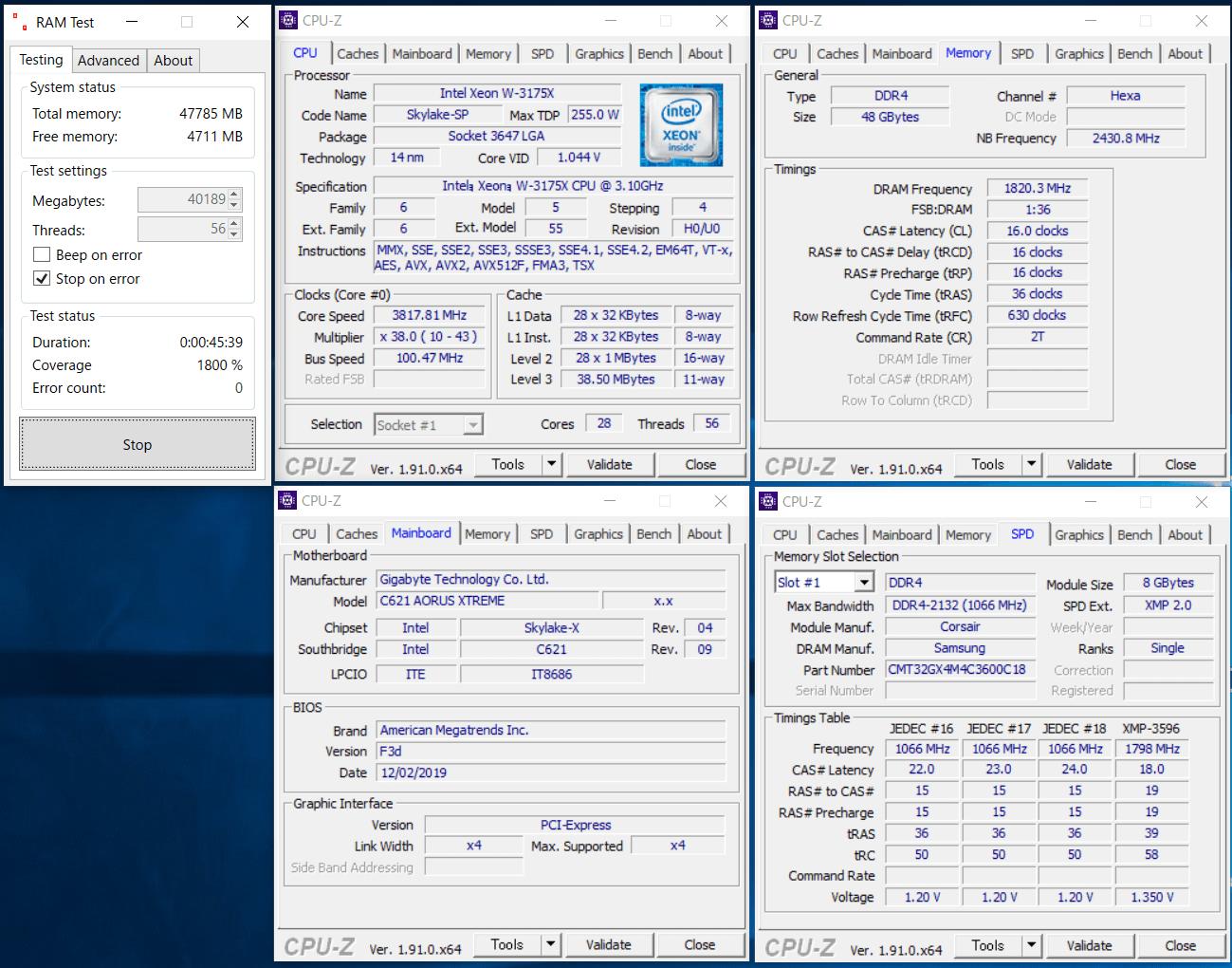 GIGABYTE C621 AORUS XTREME_OC Test_Ramtest
