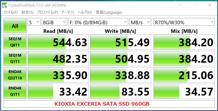 KIOXIA EXCERIA SATA SSD 960GB_CDM7
