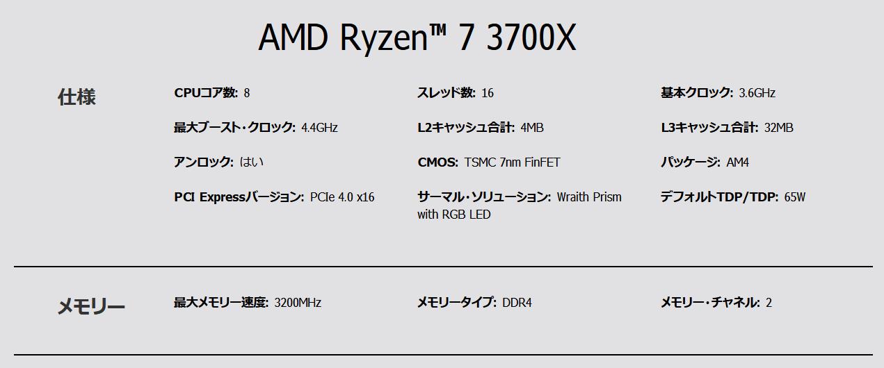 AMD Ryzen 7 3700X_spec