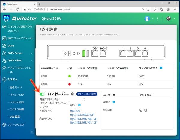 QNAP QHora-301W_USB-FTP