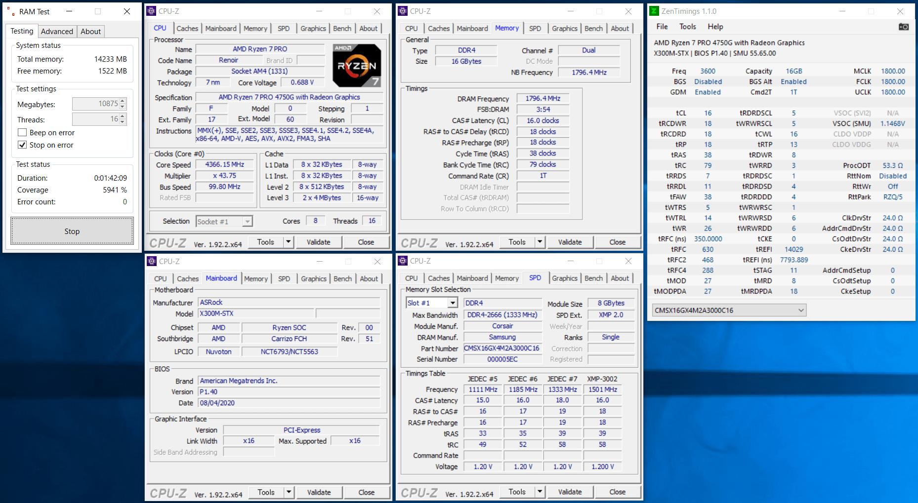 ASRock DeskMini X300_Ramtest_Corsair Vengeance SODIMM