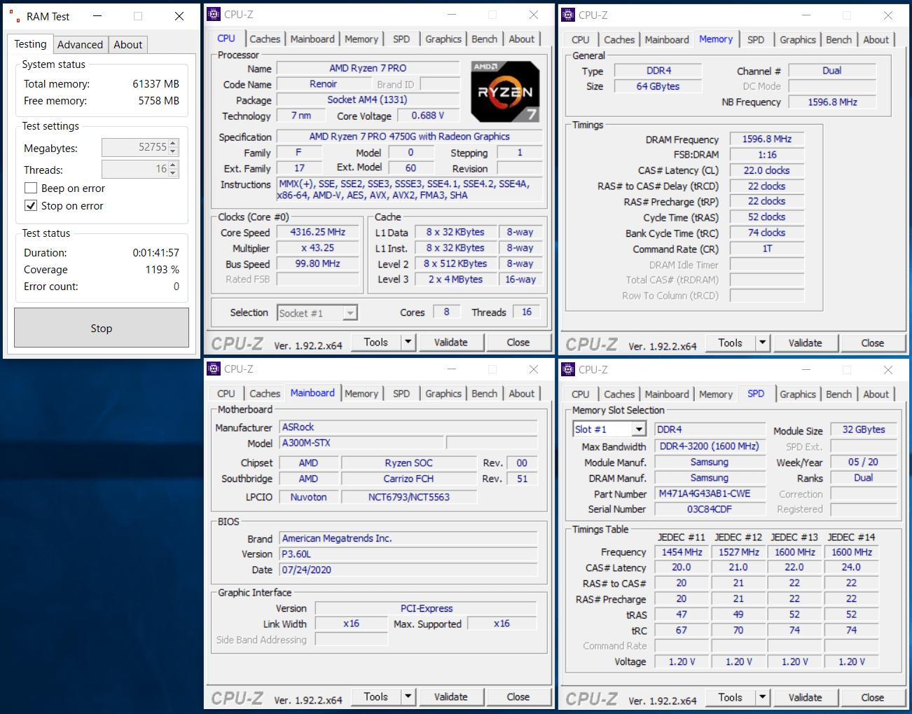 AMD Ryzen 7 PRO 4750G_Deskmini A300_ramtest_AU