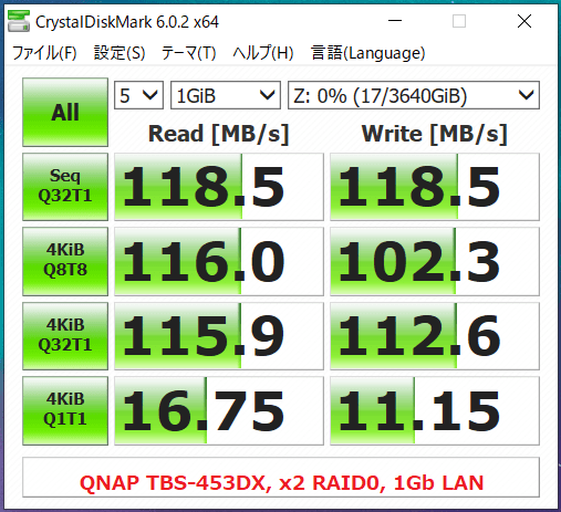 QNAP TBS-453DX_x2 RAID0_1Gb LAN