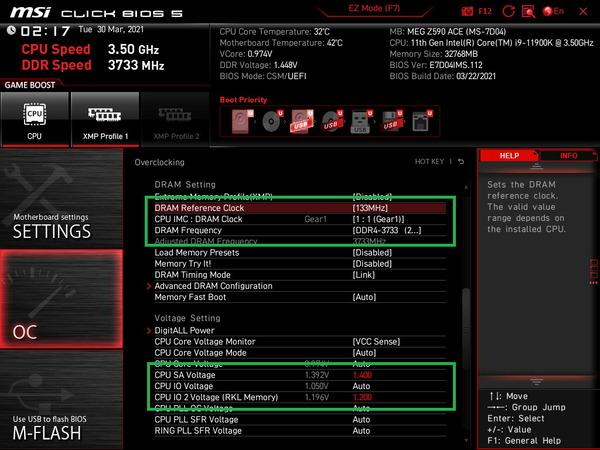 Intel Core i9 11900K_BIOS_Memory-OC