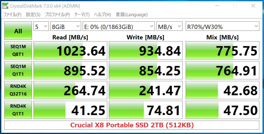 Crucial X8 Portable SSD 2TB(512KB)_CDM7