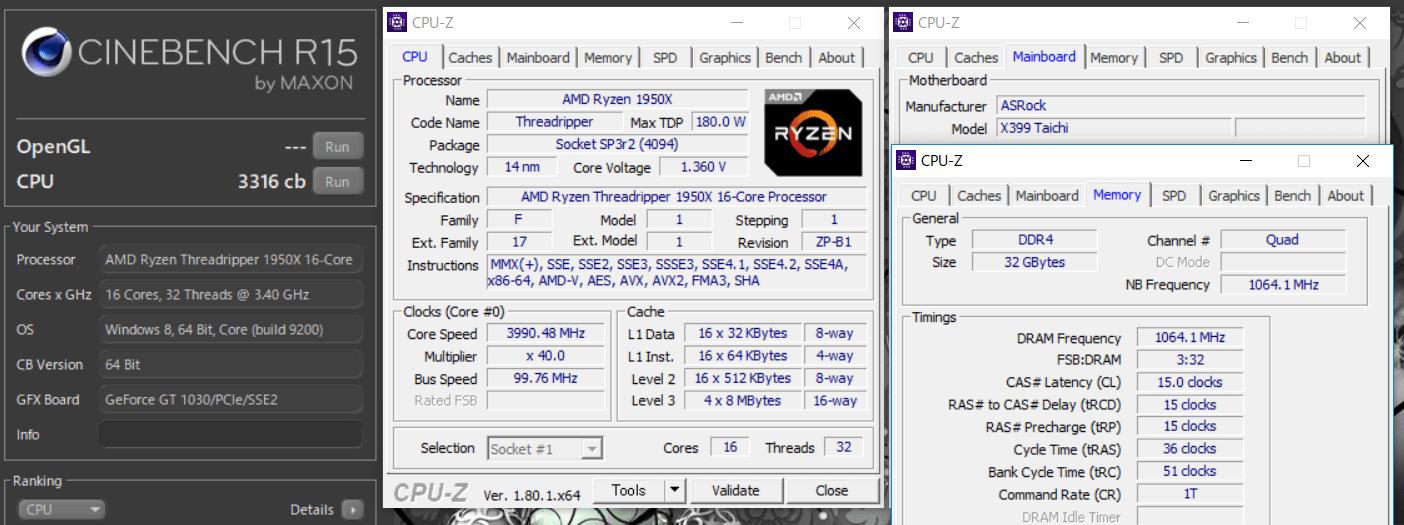 AMD Ryzen Threadripper 1950X 4GHz cinebench