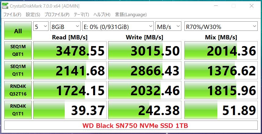 WD Black SN750 NVMe SSD 1TB_CDM7