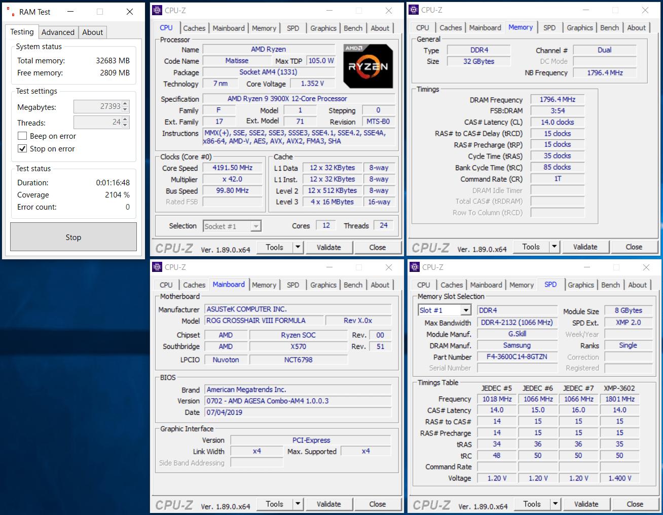 F4-3600C14Q-32GTZN_ASUS ROG CROSSHAIR VIII FORMULA_RAM Test