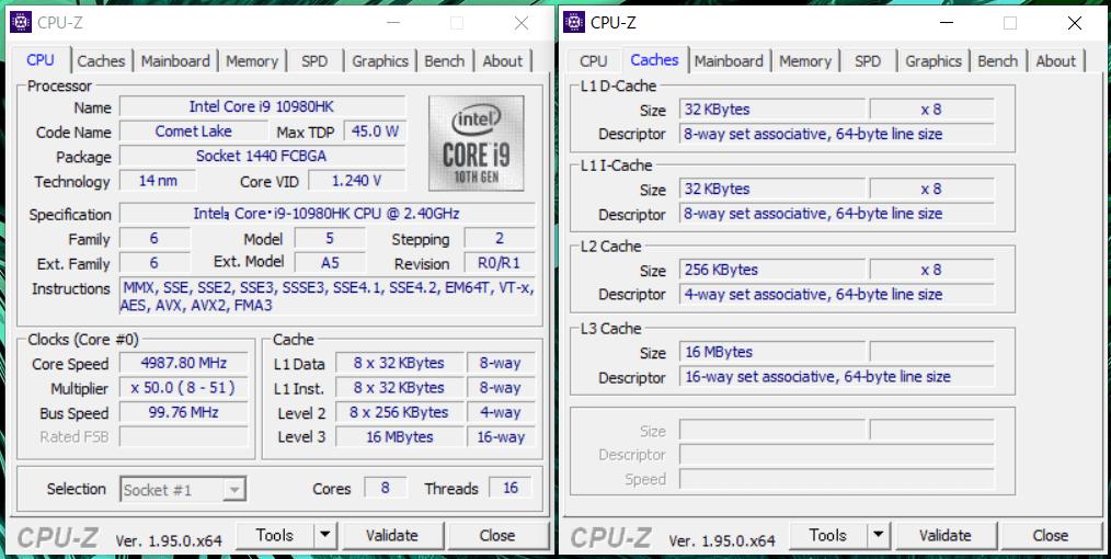 GIGABYTE AERO 15 OLED_Core i9 10980HK_CPU-Z
