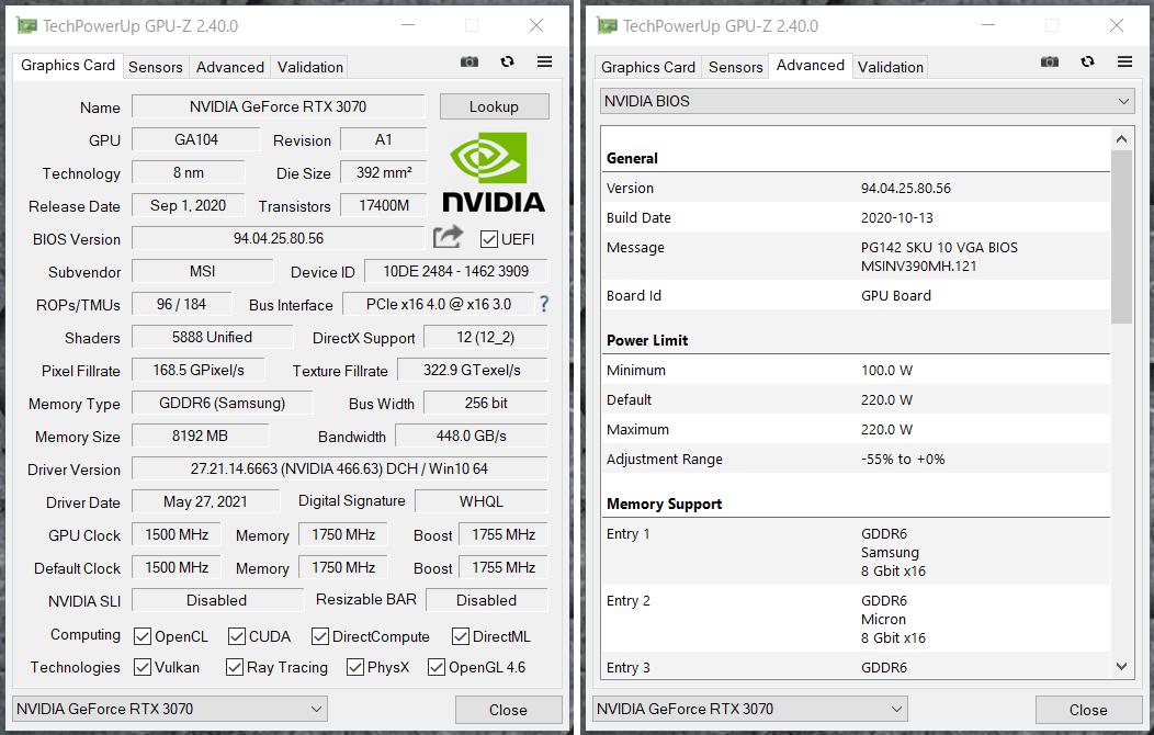 G-GEAR alpha GS7A-B204TWH_GeForce RTX 3070_GPU-Z