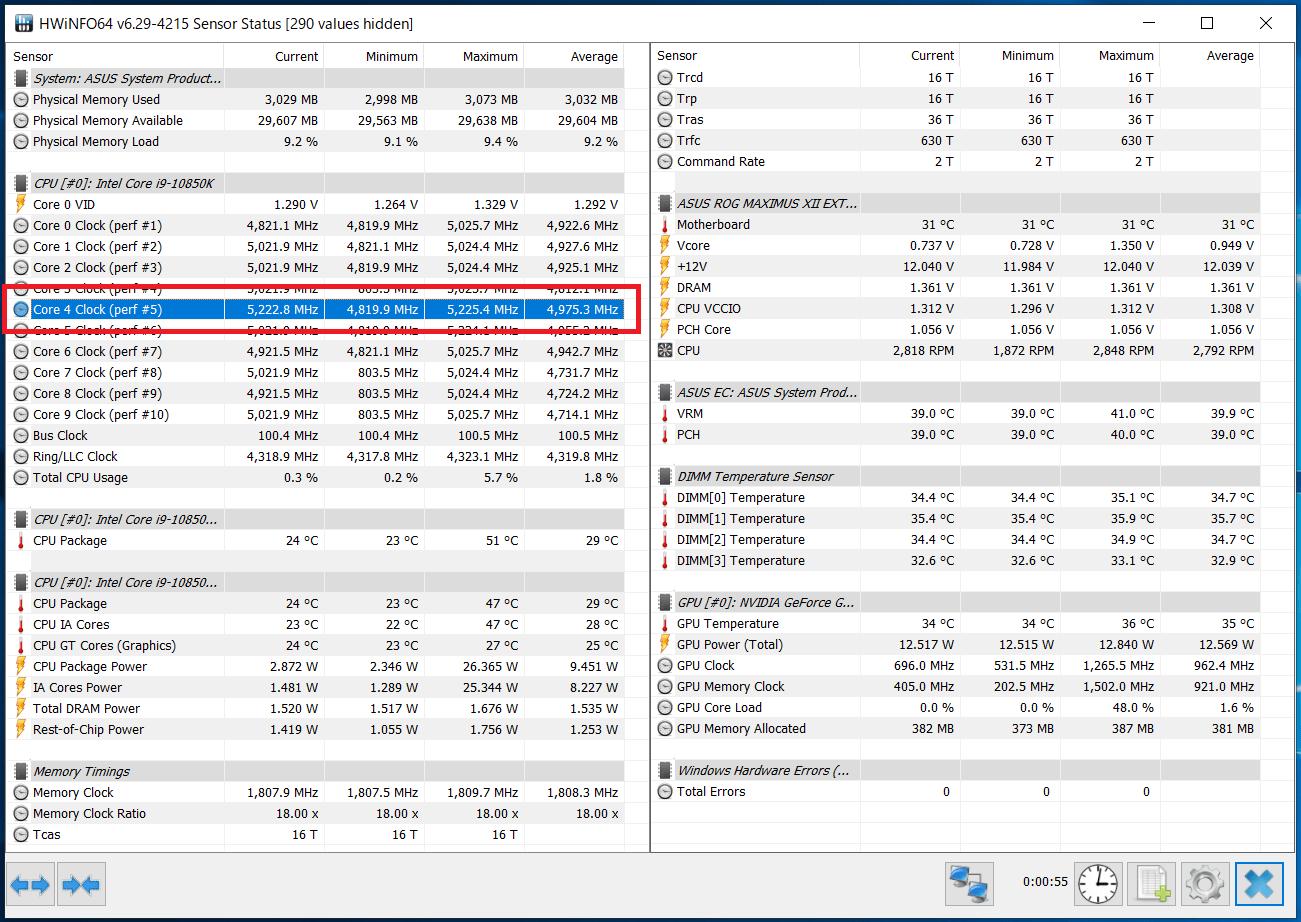 Intel Core i9 10850K_Boost-Clock_Single