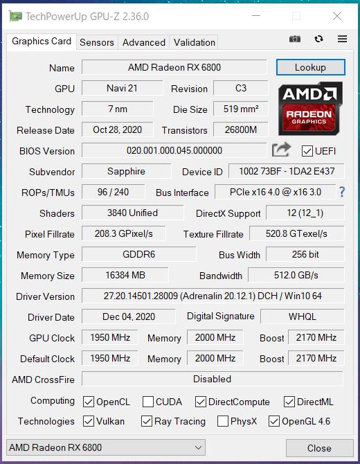 SAPPHIRE PULSE Radeon RX 6800 OC 16G GDDR6_GPU-Z (1)