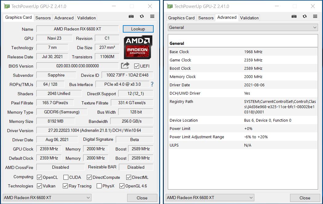 SAPPHIRE NITRO+ AMD Radeon RX 6600 XT GAMING OC_Silent_GPU-Z