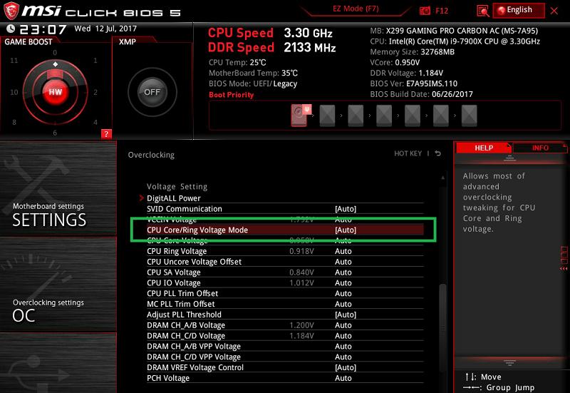 MSI X299 GAMING PRO CARBON AC_BIOS_OC_13
