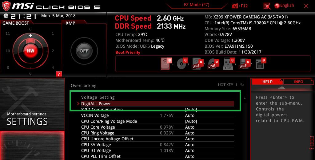 MSI X299 XPOWER GAMING AC_BIOS_OC_17