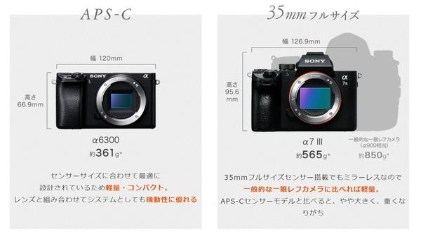 Sony-alpha-camera-size