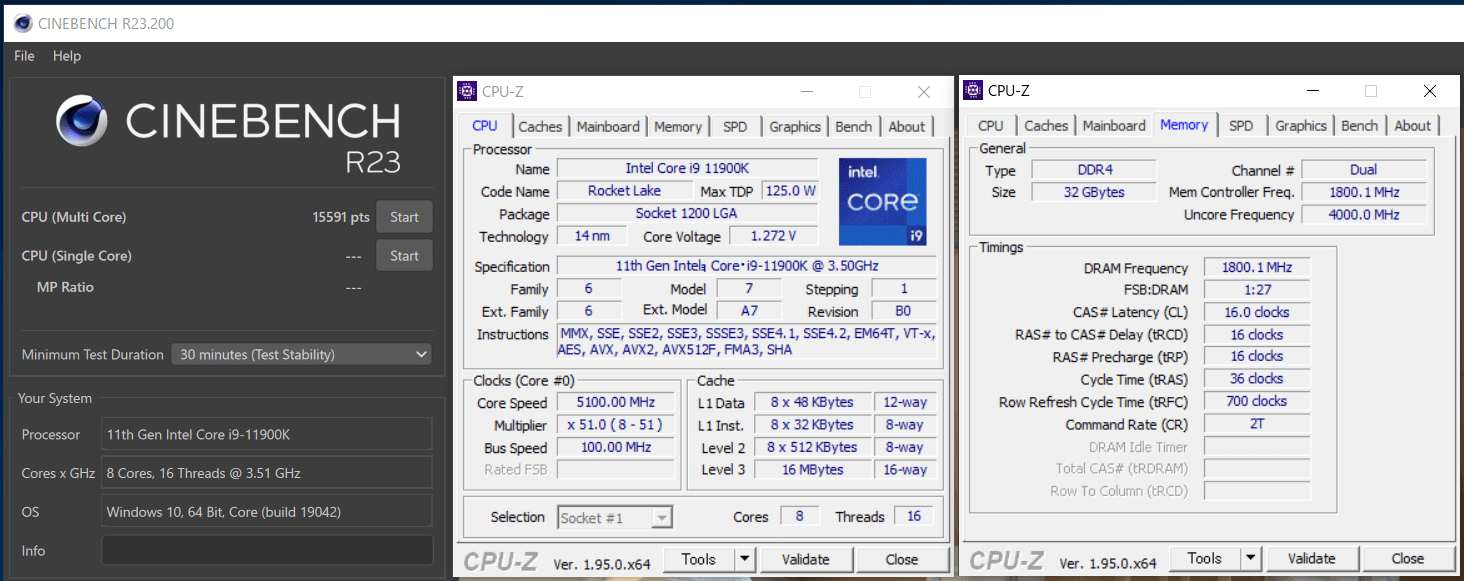 GIGABYTE Z590 AORUS ULTRA_Core i9 11900K_CinebenchR23