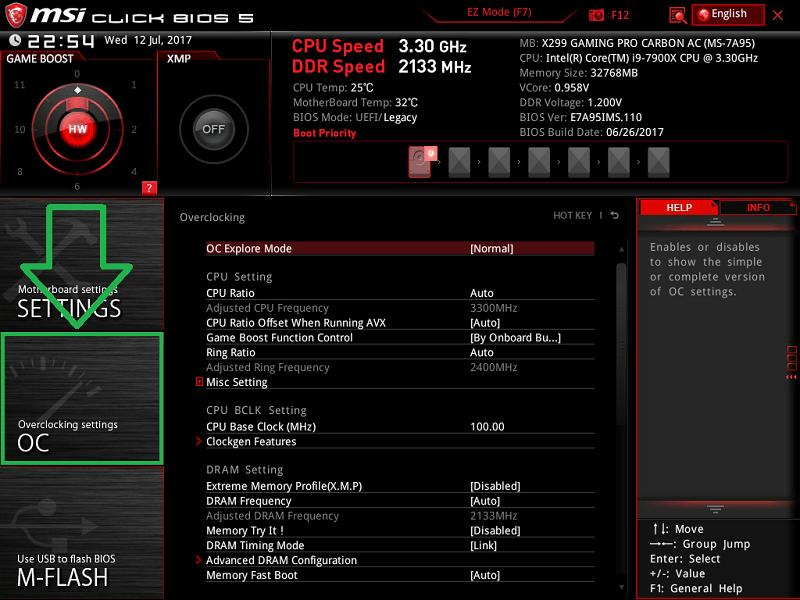 MSI X299 GAMING PRO CARBON AC_BIOS_OC_1