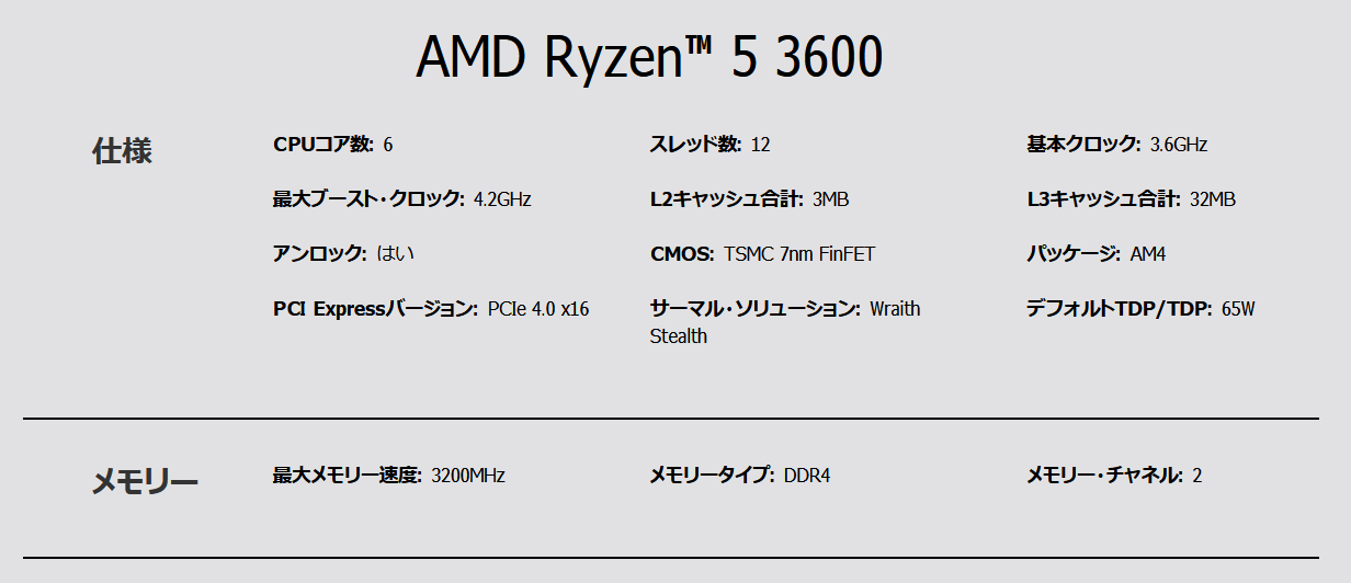 AMD Ryzen 5 3600_spec