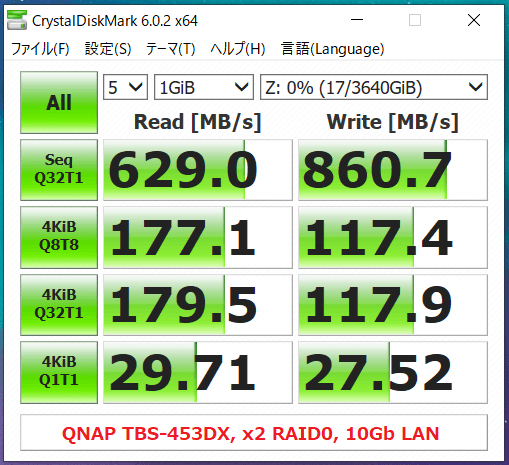 QNAP TBS-453DX_x2 RAID0_10Gb LAN