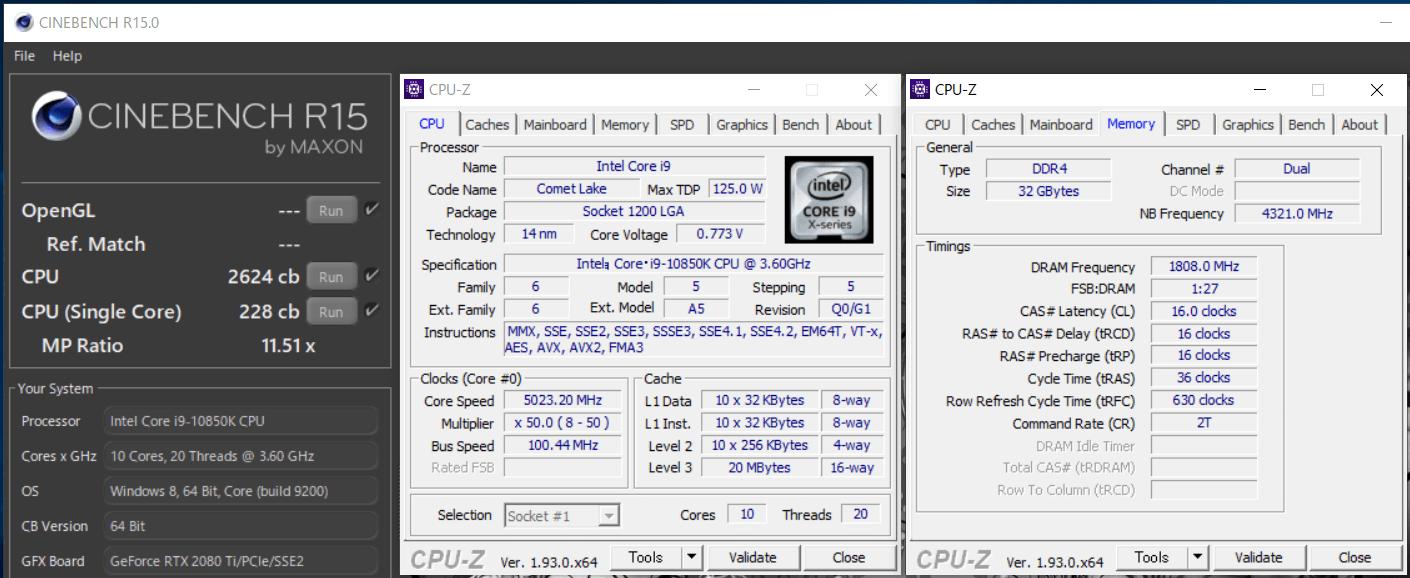 Intel Core i9 10850K_cinebench-R15