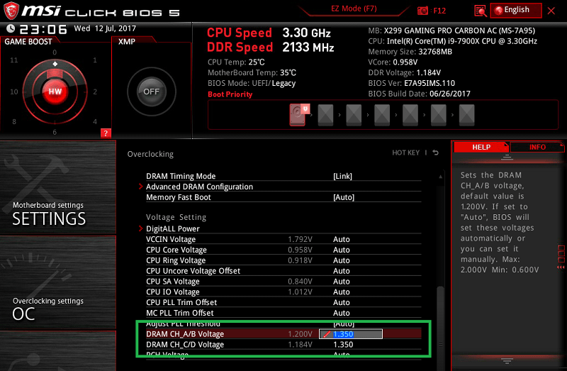 MSI X299 GAMING PRO CARBON AC_BIOS_OC_22