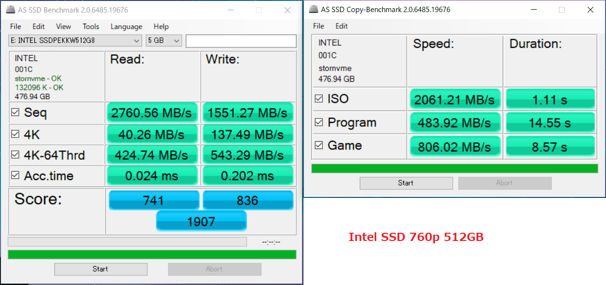 Intel SSD 760p 512GB_AS