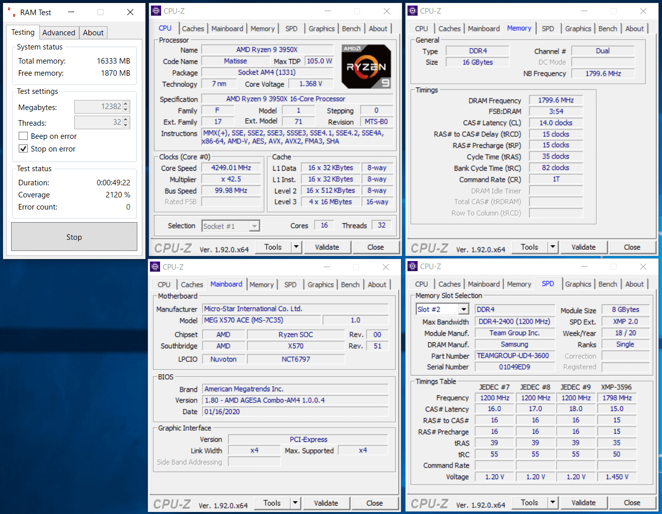 Team T-FORCE Xtreem ARGB DDR4 TF10D416G3600HC14CDC01_X570_test