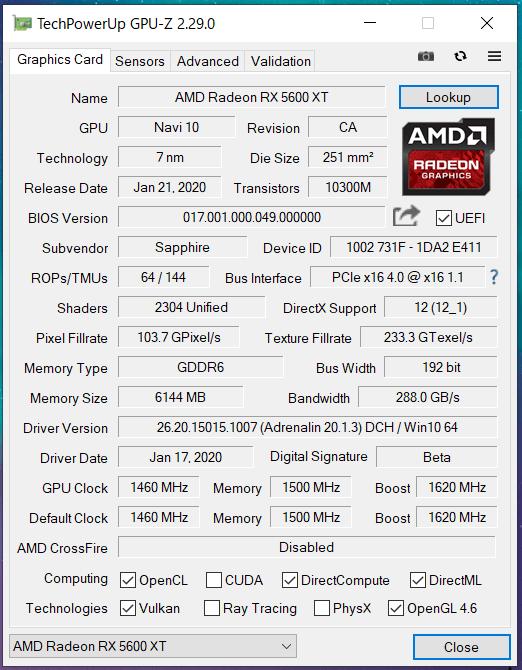 SAPPHIRE PULSE Radeon RX 5600 XT(SM)_GPU-Z (1)