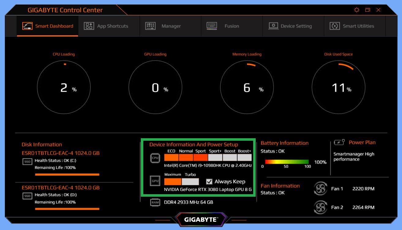 GIGABYTE AERO 15 OLED_Command Center