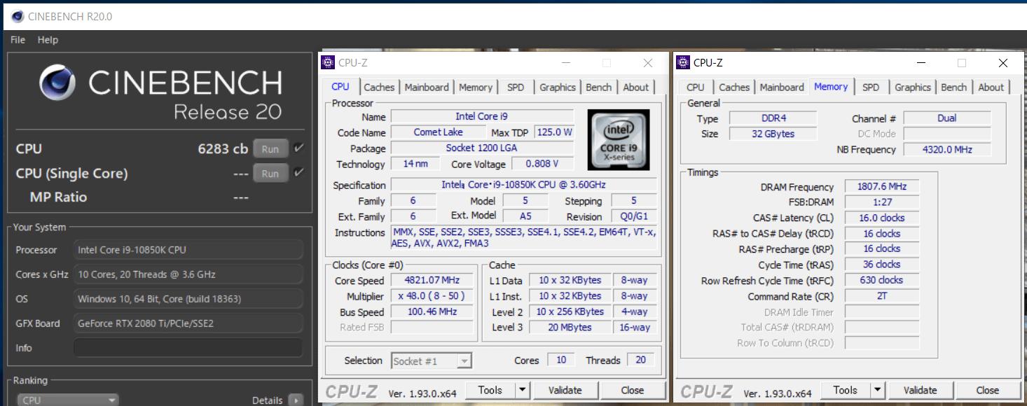 Intel Core i9 10850K_cinebench-R20