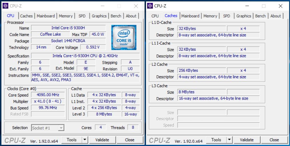 ZOTAC MAGNUS EN52060V_Core i5 9300H_CPU-Z