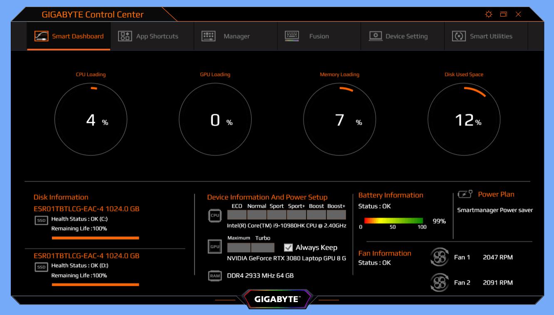 GIGABYTE AERO 15 OLED_Command Center_battery