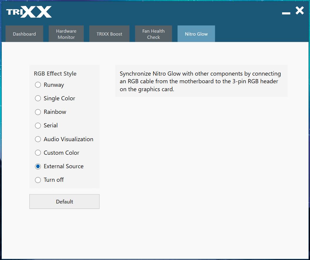 SAPPHIRE NITRO+ Radeon RX 5700 XT_TRIXX_external RGB