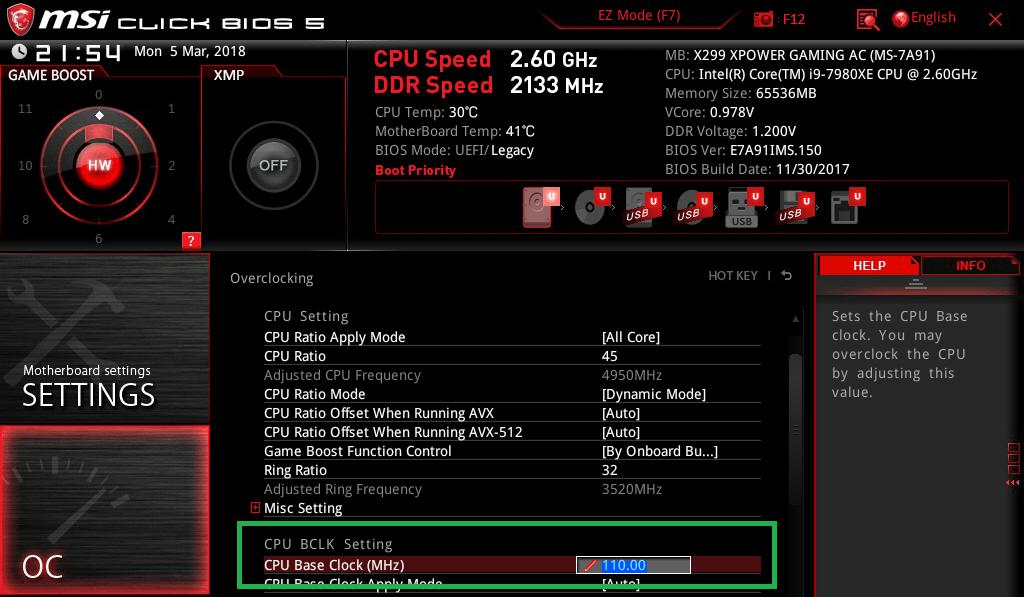 MSI X299 XPOWER GAMING AC_BIOS_OC_8